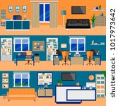 office rooms flat | Shutterstock .eps vector #1017973642
