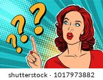 question mark  thinking woman....   Shutterstock .eps vector #1017973882