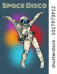 female astronaut dancing disco. ... | Shutterstock .eps vector #1017973912