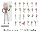 set of business woman showing... | Shutterstock .eps vector #1017975616