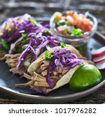 colorful plate of three mexican ... | Shutterstock . vector #1017976282