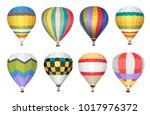 hot air balloon vector icons set | Shutterstock .eps vector #1017976372