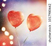 heart balloon baackground | Shutterstock . vector #1017980662