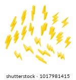 set of lightning on a white... | Shutterstock .eps vector #1017981415