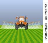 tractor watering field. vector... | Shutterstock .eps vector #1017986755
