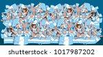 soccer fans cheering | Shutterstock .eps vector #1017987202