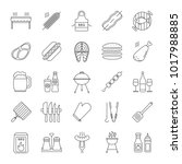 barbecue linear icons set. bbq. ... | Shutterstock .eps vector #1017988885