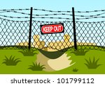 wire fence with barbed wires.... | Shutterstock .eps vector #101799112