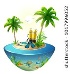 diving in tropical sea off... | Shutterstock .eps vector #1017996052