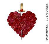 cute cartoon vector heart rose... | Shutterstock .eps vector #1017999586