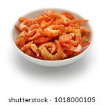 Dried Shrimp In Bowl Isolated...