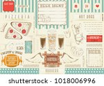 beer and fast food   pizza  hot ... | Shutterstock .eps vector #1018006996