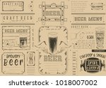 beer drawn menu design. craft... | Shutterstock .eps vector #1018007002