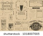 beer drawn menu design. craft... | Shutterstock .eps vector #1018007005