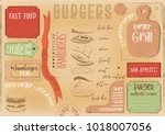 burgers placemat   paper napkin ... | Shutterstock .eps vector #1018007056