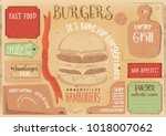 fast food drawn menu design.... | Shutterstock .eps vector #1018007062