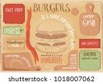 fast food drawn menu design.... | Shutterstock .eps vector #1018007062