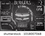 burgers chalk drawn menu design ... | Shutterstock .eps vector #1018007068