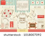fast food drawn menu design.... | Shutterstock .eps vector #1018007092