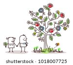 cartoon characters and spring... | Shutterstock .eps vector #1018007725