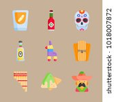 icons mexican holiday de mayo... | Shutterstock .eps vector #1018007872