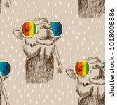 vector sketch of camel with... | Shutterstock .eps vector #1018008886