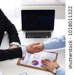 business handshake. two...   Shutterstock . vector #1018011322