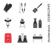 barbecue glyph icons set. bbq.... | Shutterstock .eps vector #1018012945