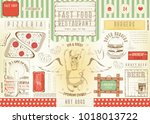 fast food restaurant placemat   ... | Shutterstock .eps vector #1018013722