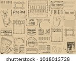 fast food   pizza  hot dog ... | Shutterstock .eps vector #1018013728