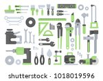 working tools set. ruler and... | Shutterstock .eps vector #1018019596
