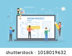 room project plan on computer... | Shutterstock .eps vector #1018019632