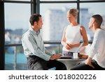 business people talking in... | Shutterstock . vector #1018020226