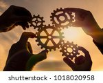 four hands collect the gear... | Shutterstock . vector #1018020958