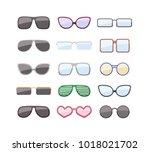 different glasses set.... | Shutterstock .eps vector #1018021702