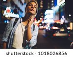 young female tourist looking...   Shutterstock . vector #1018026856