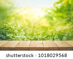 empty of wood table top on blur ... | Shutterstock . vector #1018029568