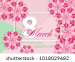 beautiful pink background with... | Shutterstock .eps vector #1018029682