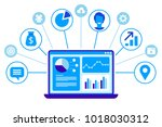 crm concept design. flat icons... | Shutterstock .eps vector #1018030312