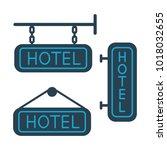 flat hotel signboard icons set...