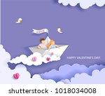 valentines day card. abstract... | Shutterstock .eps vector #1018034008