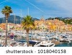 luxury marina in menton near...   Shutterstock . vector #1018040158