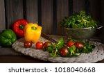 fresh lettuce  tomatoes and... | Shutterstock . vector #1018040668