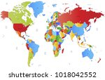 color world map vector | Shutterstock .eps vector #1018042552