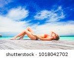 woman in bikini relaxing by the ... | Shutterstock . vector #1018042702