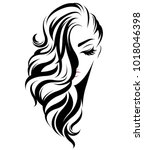 illustration of women long hair ... | Shutterstock .eps vector #1018046398