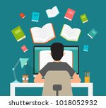 man in learning process. man... | Shutterstock .eps vector #1018052932