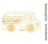 color line vehicle school bus... | Shutterstock .eps vector #1018053046