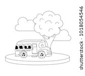 dotted shape school bus in the... | Shutterstock .eps vector #1018054546