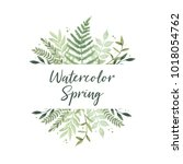 vector watercolor illustration. ... | Shutterstock .eps vector #1018054762